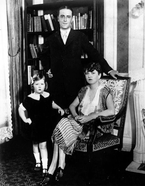 F. Scott, Zelda, and Scottie Fitzgerald at Lands End, their home in Sands Point, NY, on Long Island Sound.