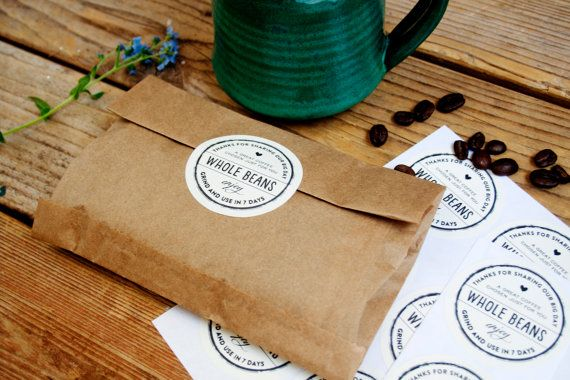 Wedding Favor Stickers - Generic seals for my Coffee Bags - Thank You Stickers - 20 Stickers