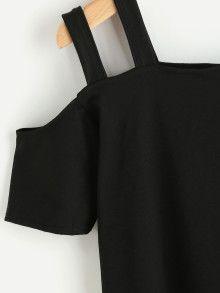Camiseta con hombros abiertos de tirante doble-Spanish Romwe Sitio Móvil