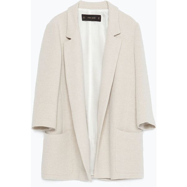 Zara Blazer With Pockets ($100) ❤ liked on Polyvore featuring outerwear, jackets, blazers, coats & jackets, coats, sand, zara blazer, zara jacket, white blazer and lined jacket