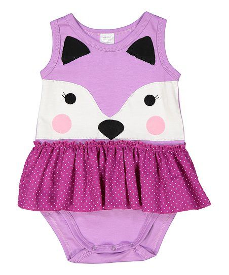 Victoria Kids Lilac Polka Dot Fox Organic Skirted Bodysuit - Infant | zulily