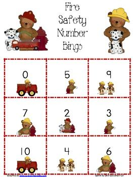 Fire Safety NUmber 0-10 Bingo Game | Educational | Fire ...