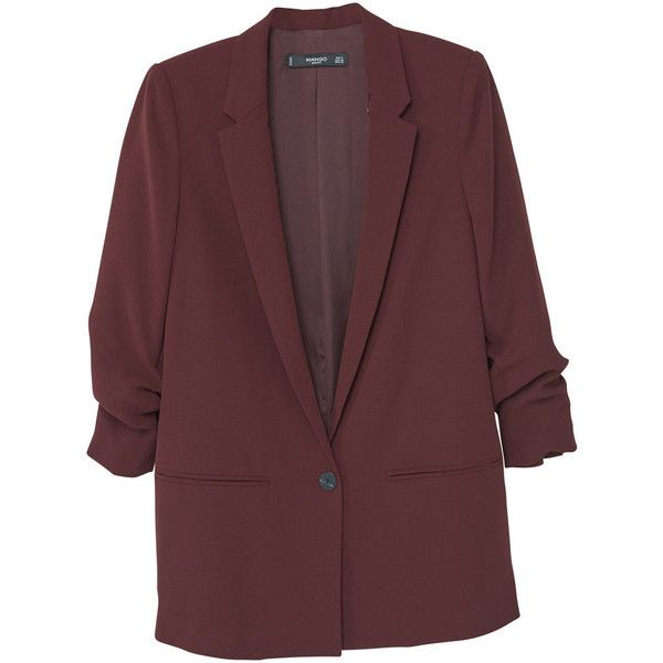 Ruched Sleeves Blazer ($78) ❤ liked on Polyvore featuring outerwear, jackets, blazers, embellished blazer, fleece-lined jackets, embellished jacket, red blazer and long sleeve jacket