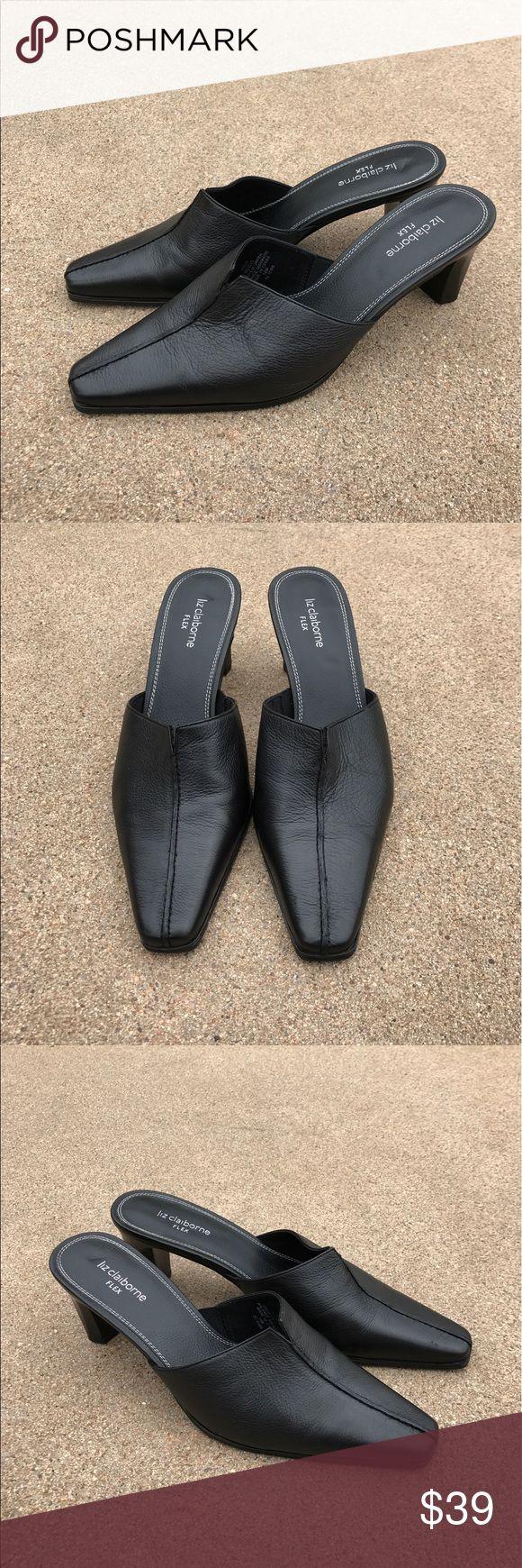 Liz Claiborne Flex Women's Mules Clogs Heels Black Lovely Liz Claiborne Flex women's mules clogs pump heels slides square toe black leather Size 10M pre-owned, minor wear, scuffs. Liz Claiborne Shoes Mules & Clogs