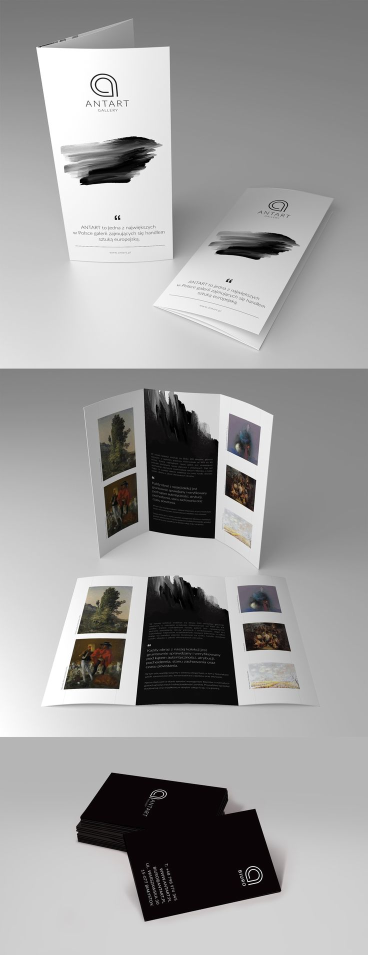 Ant Art gallery leaflets, business cards, clean design, elegant design, www.propercolors.pl/en/