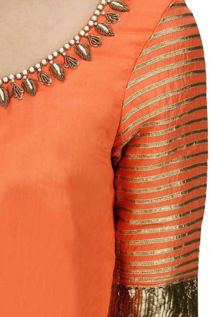 TISHA SAKSENA Peach and yellow embroidered anarkali set available only at Pernia's Pop-Up Shop.