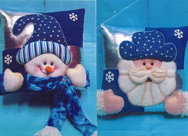 cojines navideños nieve y noel: