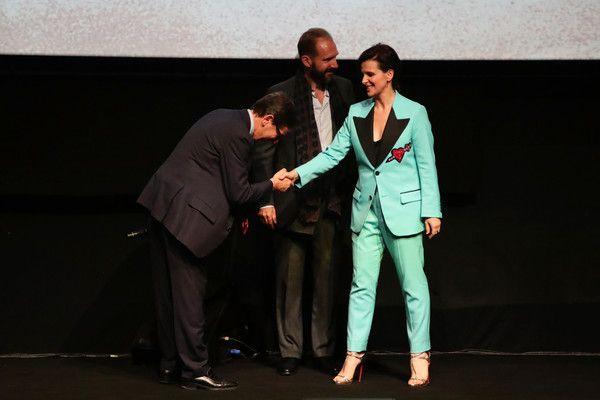 Antonio Monda, Ralph Fiennes and Juliette Binoche presents The Cast Presents 'The English Patient - Il Paziente Inglese' screening during the 11th Rome Film Festival at Auditorium Parco Della Musica on October 22, 2016 in Rome, Italy.