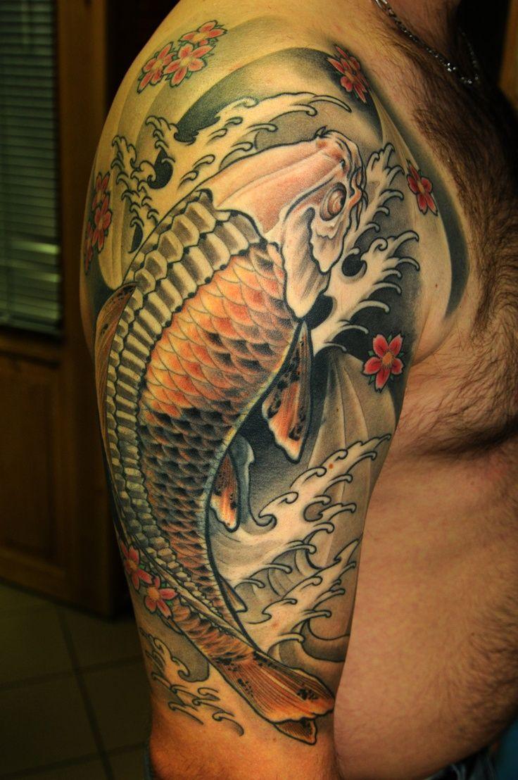 Black And Grey Koi Fish Sleeve Tattoos: Black, Gray And Orange Koi Fish Tattoo