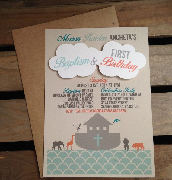 Noah's Ark Themed Invitation- 3D Clouds - CUSTOM Birthday Baptism Baby Shower - Teal Aqua Gray Orange - Boat Animals Cross - Recycled - Eco by kandvcrafts, $3.00