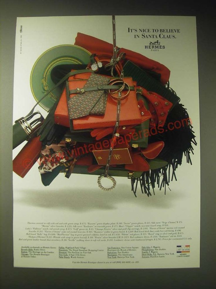 1989 Hermes Boutique Ad - It's nice to believe in Santa Claus