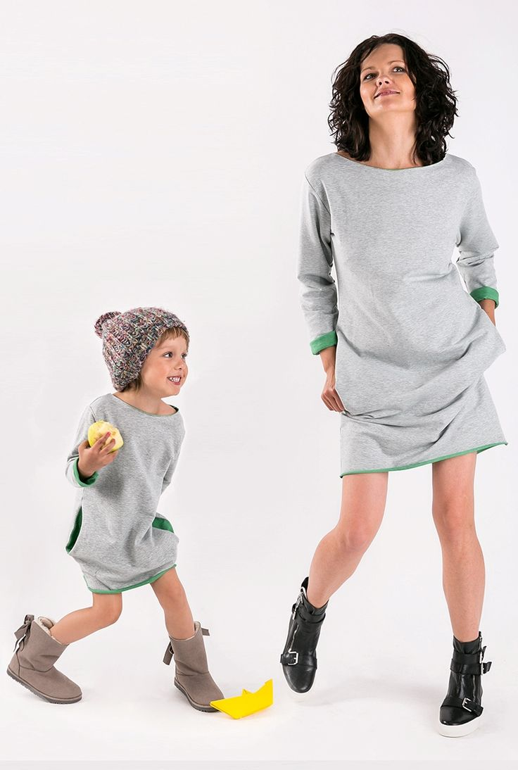 Matching mommy and me matchingoutfits :) The Same sweatshirt dress with green mother daughter set  Shop at www.thesame.eu