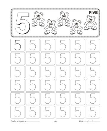 Number Writing 5 Sheet