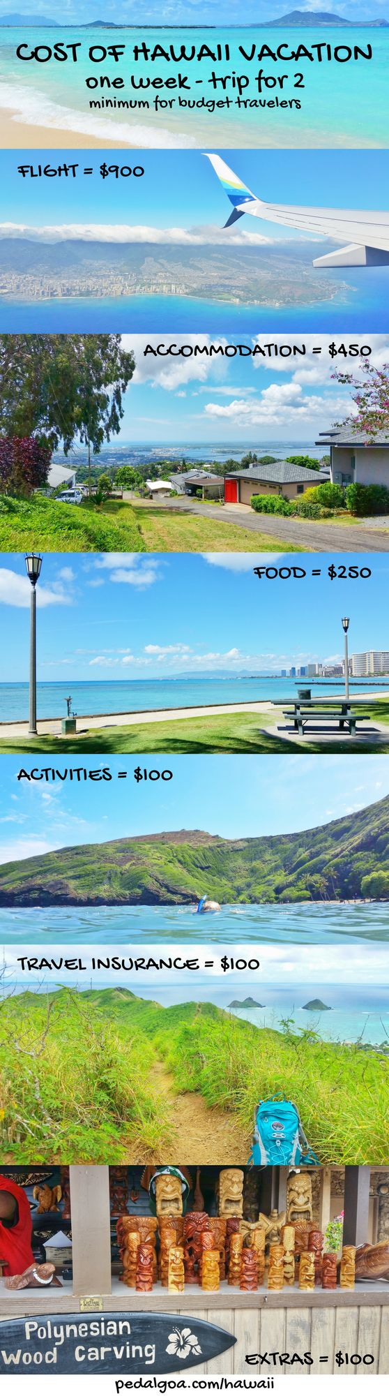 For things to do in Hawaii on a budget, whether Oahu, Maui, Kauai, or Big Island, save money and have fun on Hawaii vacation with beaches, snorkeling, hiking ideas! What you pack and wear adds cost for your Hawaii packing list but find cheap (er) flights, hotels (airbnb vacation rentals), food, free activities without gift shopping. ;) Prices for planning this USA bucket list destination! Apply budget travel tips on all Hawaiian islands, whether honeymoon, wedding, anniversary celebration!