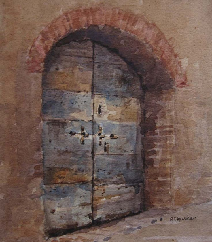 An Old Doorway II  Watercolour : 22 x 18 cm Signed