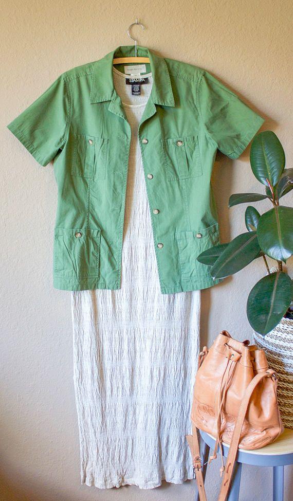 Vintage 90s Army Green Shirt Cotton Boyfriend Shirt Minimal