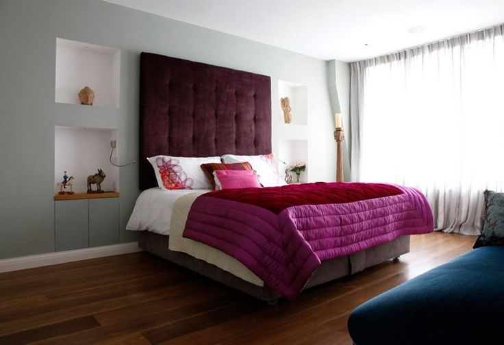 Cool Picture Of Maroon Bedroom Design And Decoration For Your Inspiration : Modern Girl Maroon Bedroom Decoration Using Quilted Purple Maroon Bed Sheet Including Tall Red Velvet Headboard And Solid Oak Wood Bedroom Flooring