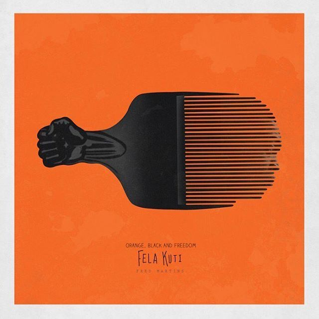 Nigerian artist Fred Martins uses the symbol of the afro comb to celebrate significant African activists, who were jailed fighting for freedom and fairness. The orange colour is associated to prison. I realised that most of these legendary activists – from Marcus Garvey, Martin Luther King Jr, Nelson Mandela, Patrice Lumumba, Fela Kuti to Angela Davis – were at some point jailed for enforcing the African consciousness. via @designindaba