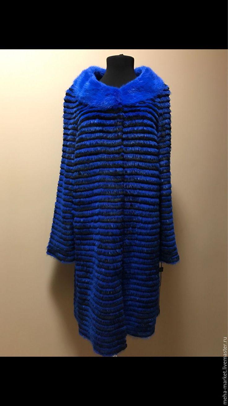 """Купить Меховое пальто комбинированное синее """"Электро"""" 90см. - в полоску, пальто, норковая шуба"""