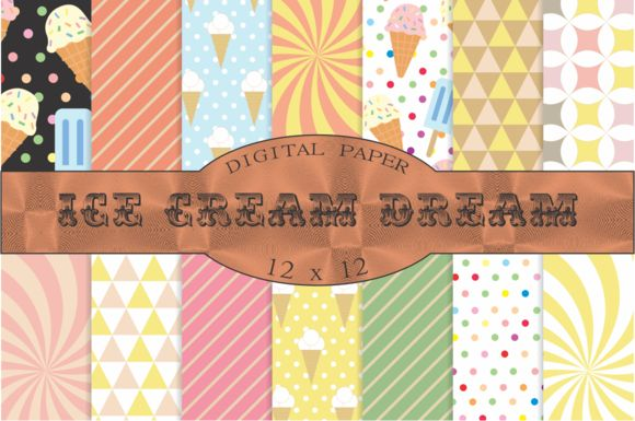 Ice cream patterns, digital paper by Kiwi Fruit Punch on @creativemarket