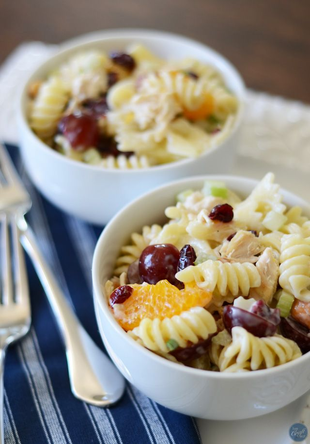 crunchy, fruity, salty, and savory chicken pasta salad. a kid favorite!! we love this for lunch. and my kids especially love that they get to help make it! | www.livecrafteat.com