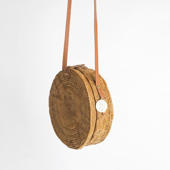 El Sol redondo bambú bolsa de paja rota