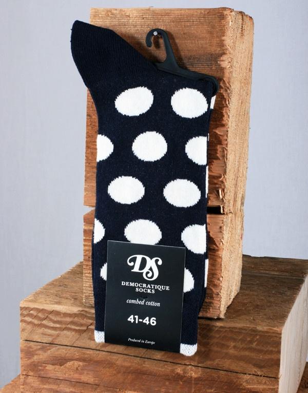 Democratique Socks Spotted Sock - White/Navy Blue