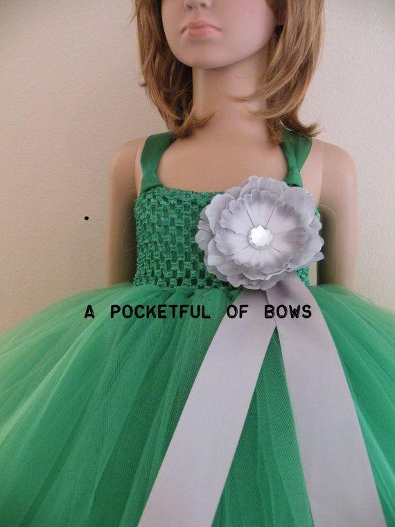 Flower Girl Tutu Dress Long Tulle Tutu Dress by APocketfulofBows