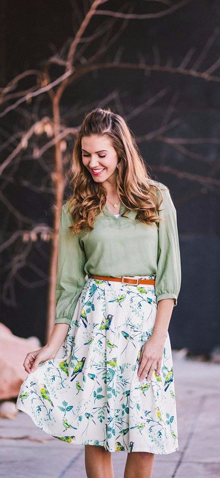modest skirt, bird print skirt, knee length,
