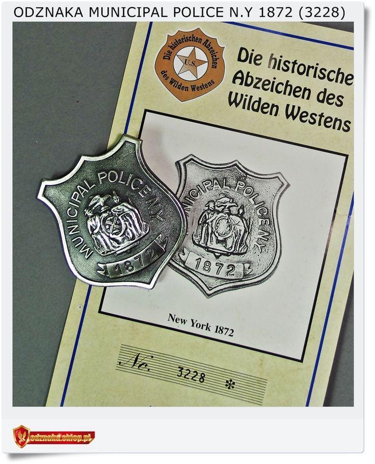 Odznaka Policja municypalna Policjanta - Municipal Police N.Y 1872 (3228)