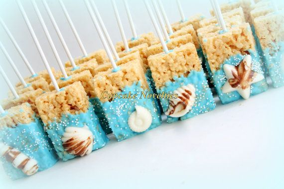 Under the Sea Birthday Baby Shower Bridal Shower Seashell Chocolate Dipped Rice Krispie Treats Ocean Beach Wedding Mermaid Birthday Favors
