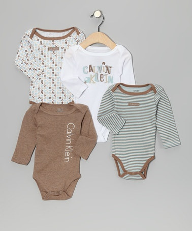 Take a look at this Blue & Brown Mod Bodysuit Set by Welcome Baby: Apparel & Accessories on #zulily today!: Welcome Baby