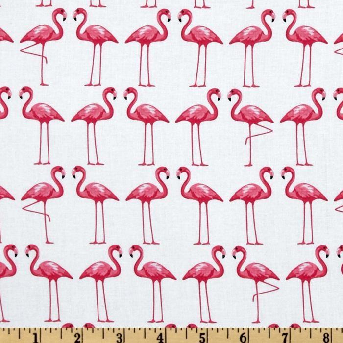 Michael Miller Shore Thing Flamingo Dance White