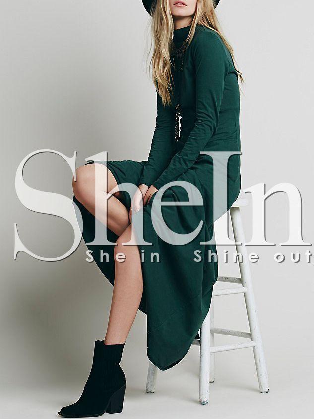 Dark Green Long Sleeve Backless Rockabilly Peasant Maxi Dress 16.99