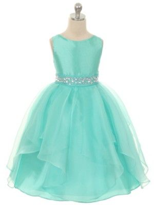 Mint Fabulous Taffeta and Organza Overlay with Rhinestone Waist Flower Girl Dress (Available in Sizes 2-12 in 7 Colors)
