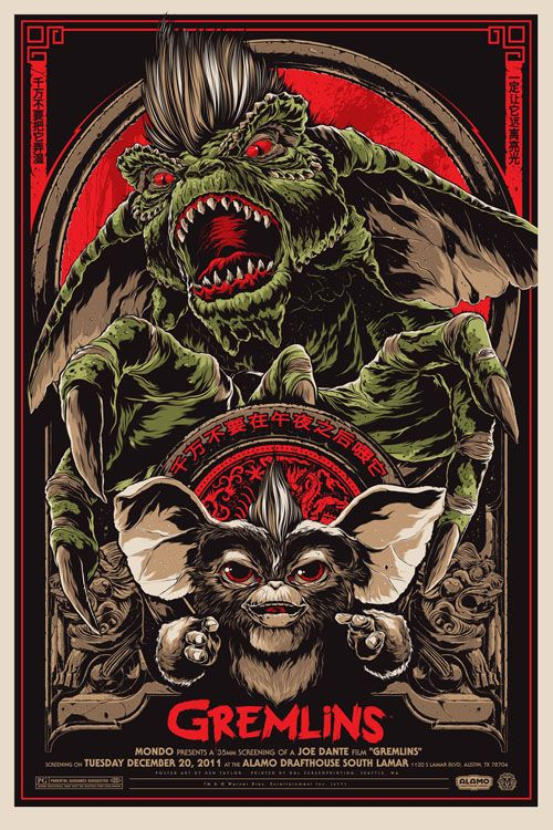 Gremlins 7/10 August 5th. A fun Christmas film, but not as good as I remember.: Movie Posters, Gremlins, Art, Illustration, Movies, Film Poster, Horror Movie, Taylors