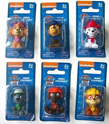 "Nickelodeon's Paw Patrol mini figurines/ cake toppers. Includes one 1.5"" figurine of each character. These small figures are perfect for little hands to hold and pretend play or even trade them.   toys4mykids.com"