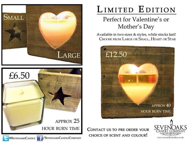 Is your mum a star? Get her a limited edition star candle from us, made to order with your choice of scent and colour! Just one large and four small left in stock!