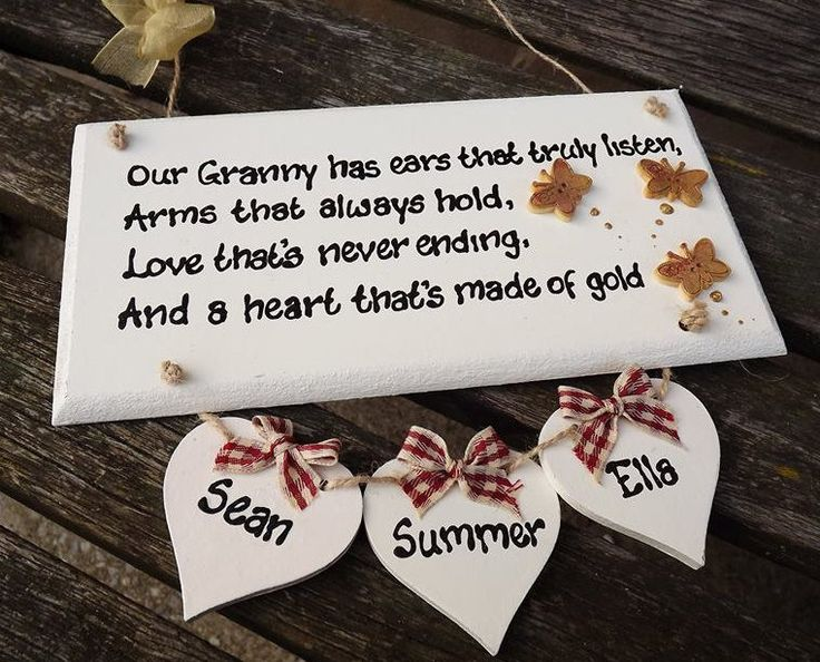 Our GRANNY HAS EARS... Personalised Wooden plaque for Granny, Nana, Nanny, Gran, Grandma. With up to 5 names attached. by KatijanesCreations on Etsy