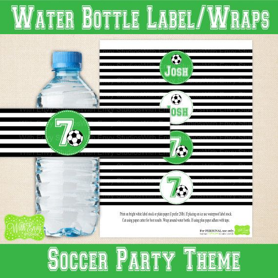 Personalized Sports Bottle Labels: Soccer Water Bottle Labels Printable Water By