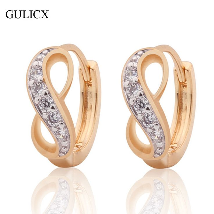GULICX New Fashion Small Circle Hoop Earing  Gold Platinum Plated Hoop Earring Crystal Earring for Women Wedding Jewelry E189