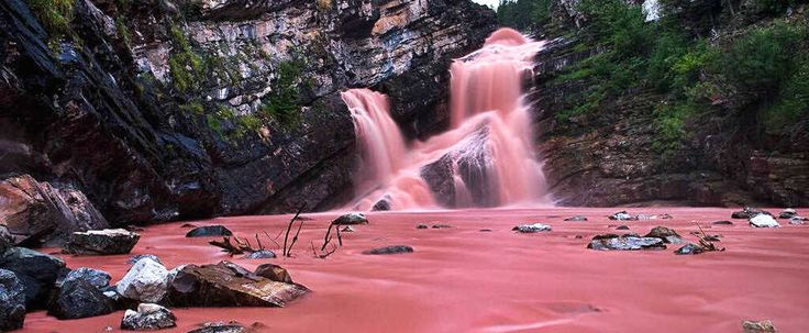 Alberta's Cameron Falls in Waterton Lakes National Park is home to real life pink waterfalls and it is definitely a place to see.  We would love to visit. In other news, if you would like to save 50% on flights, buses and train tickets across Canada, SQM can reimburse half the cost of your travel when you fill out a market research report on the travel experience. www.sqm.ca/welcome  Exotic travel, wanderlust, explore canada