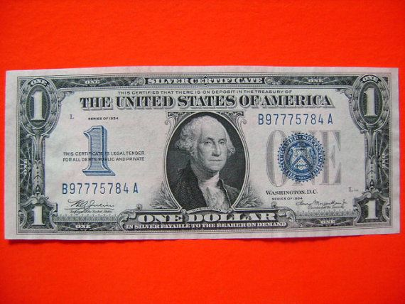 "Series of 1934 Silver Certificate 1 US Dollar Bill commonly referred to or otherwise nicknamed ""funny back"""