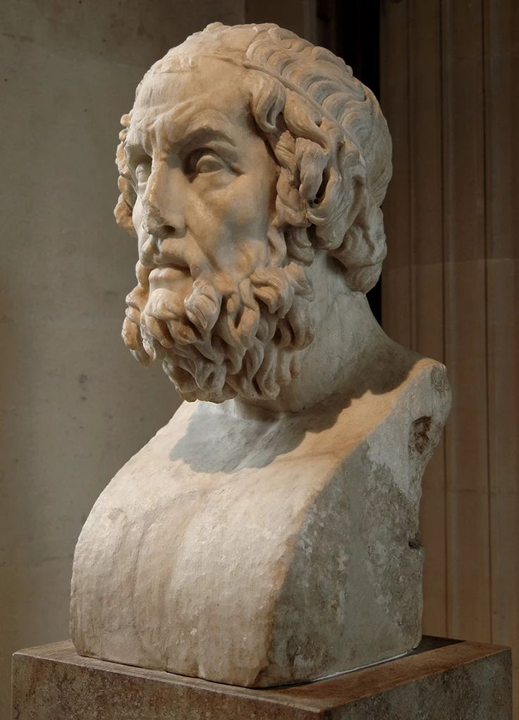 A bust of the ancient Greek poet, Homer (Όμηρος) at the Louvre Museum.