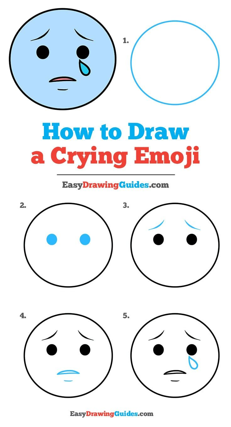 How To Draw Crying : crying, Crying, Emoji, Really, Drawing, Tutorial, Easy,, Emoji,, Lessons