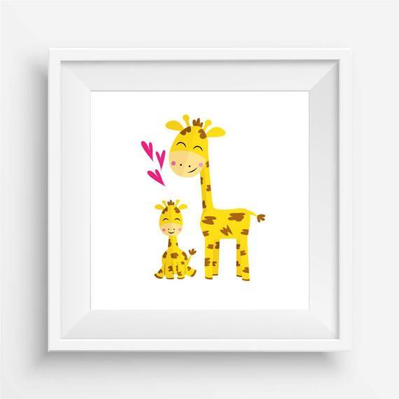 Baby Giraffe and Parent by agirladrift on Etsy