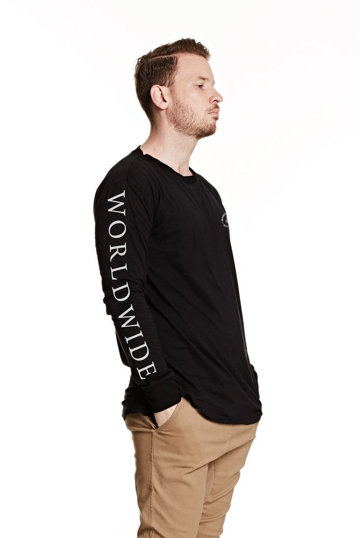 Mens Worldwide LS Tee Black from Monsta Surf
