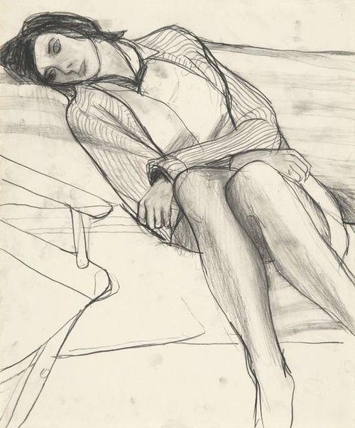 Richard Diebenkorn - Sleeping woman in armchair