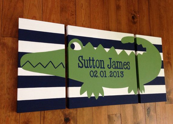 large modern nursery art- personalized triptych painting- name monogram initials- madras alligator - navy blue green - pottery barn
