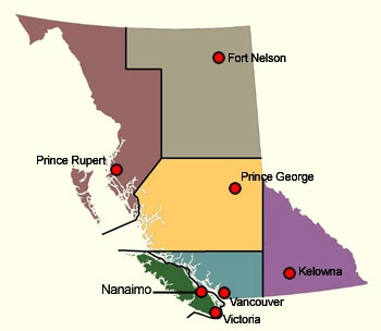 Map of British Columbia showing the First Nations of the six regions
